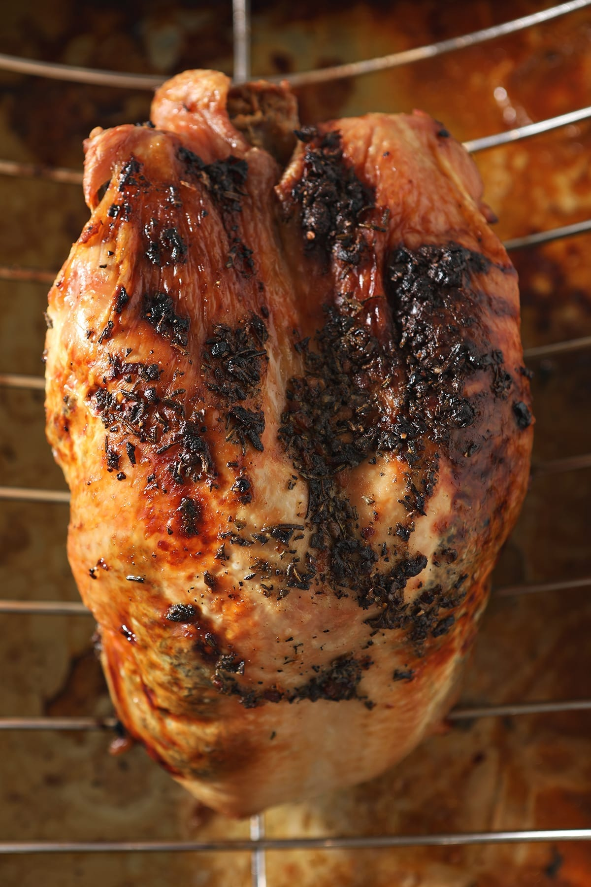 A roasted turkey breast with herb butter sits on a roasting pan