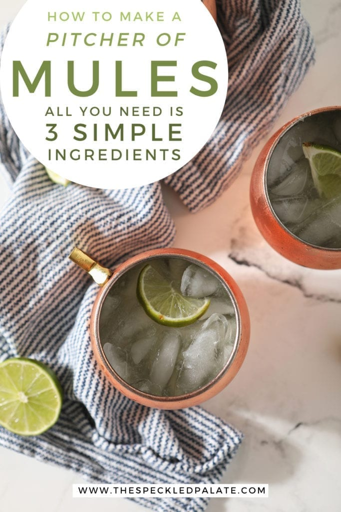 Three Moscow Mules garnished with lime wedges in copper mugs sit on a blue and white striped towel with the text 'how to make a pitcher of moscow mules. all you need is 3 simple ingredients'