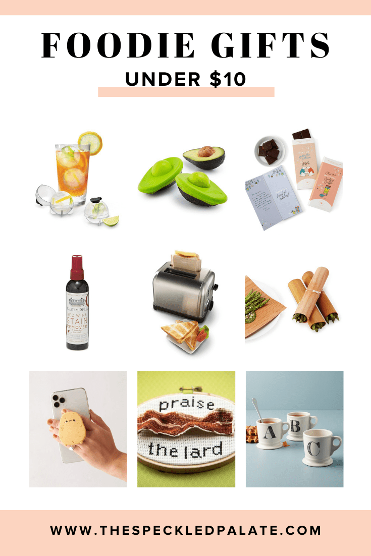 Collage of nine items that are gifts for foodies under $10