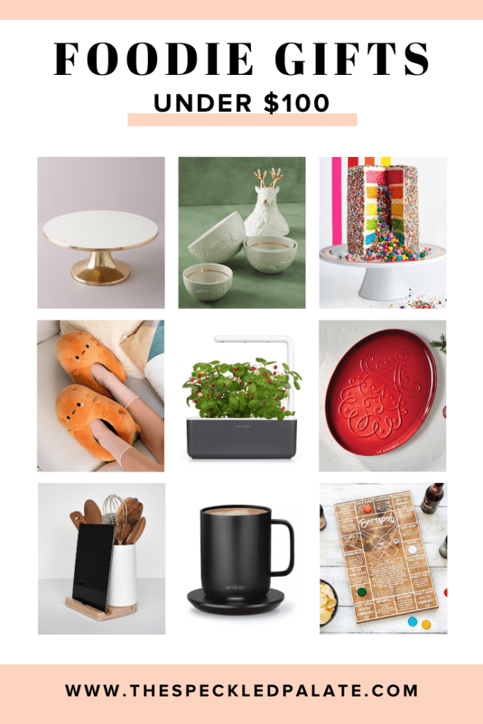 Collage of nine items that are gifts for foodies under $100