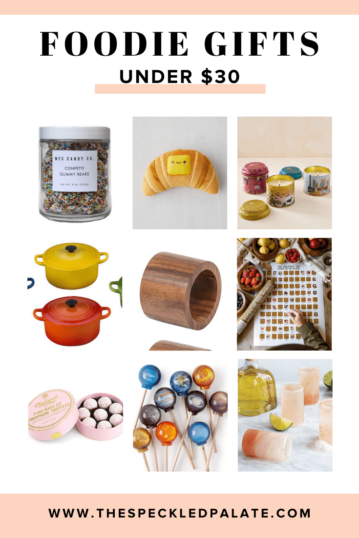 Collage of nine items that are gifts for foodies under $30