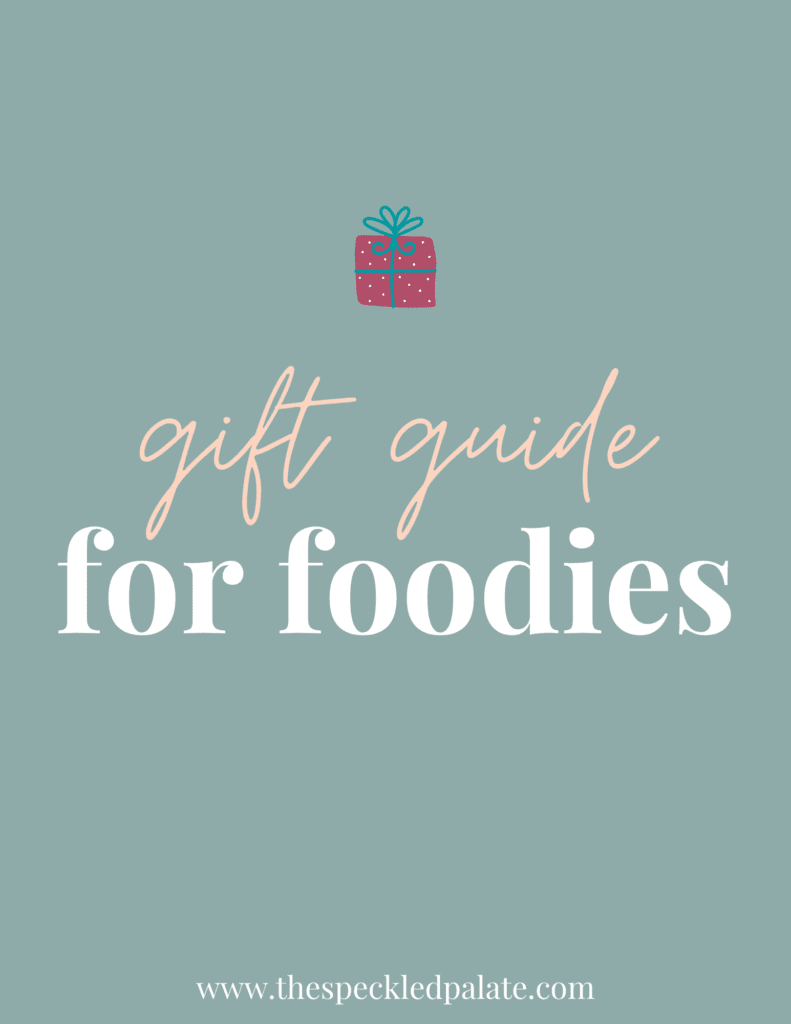 """A graphic with the text Gift Guide for Foodies"""" next to a present on a teal background"""