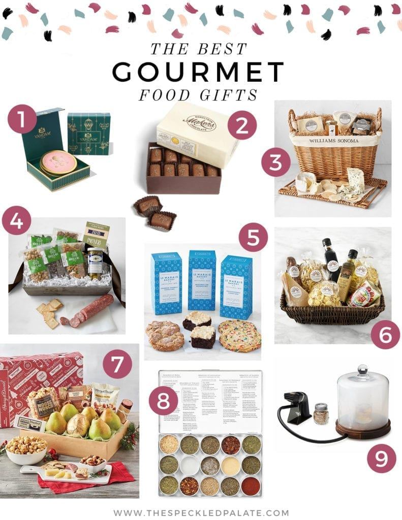 Collage of nine images of gourmet food gift baskets with the text 'the best gourmet food gifts'