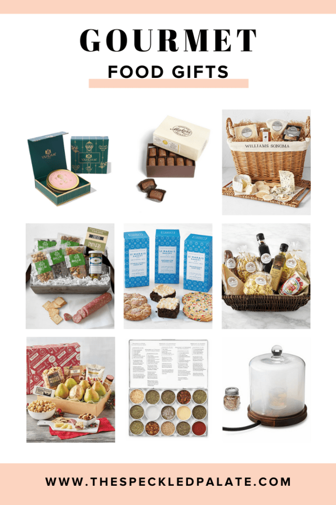 Collage of nine images of gourmet food gift baskets with the text 'gourmet food gifts'