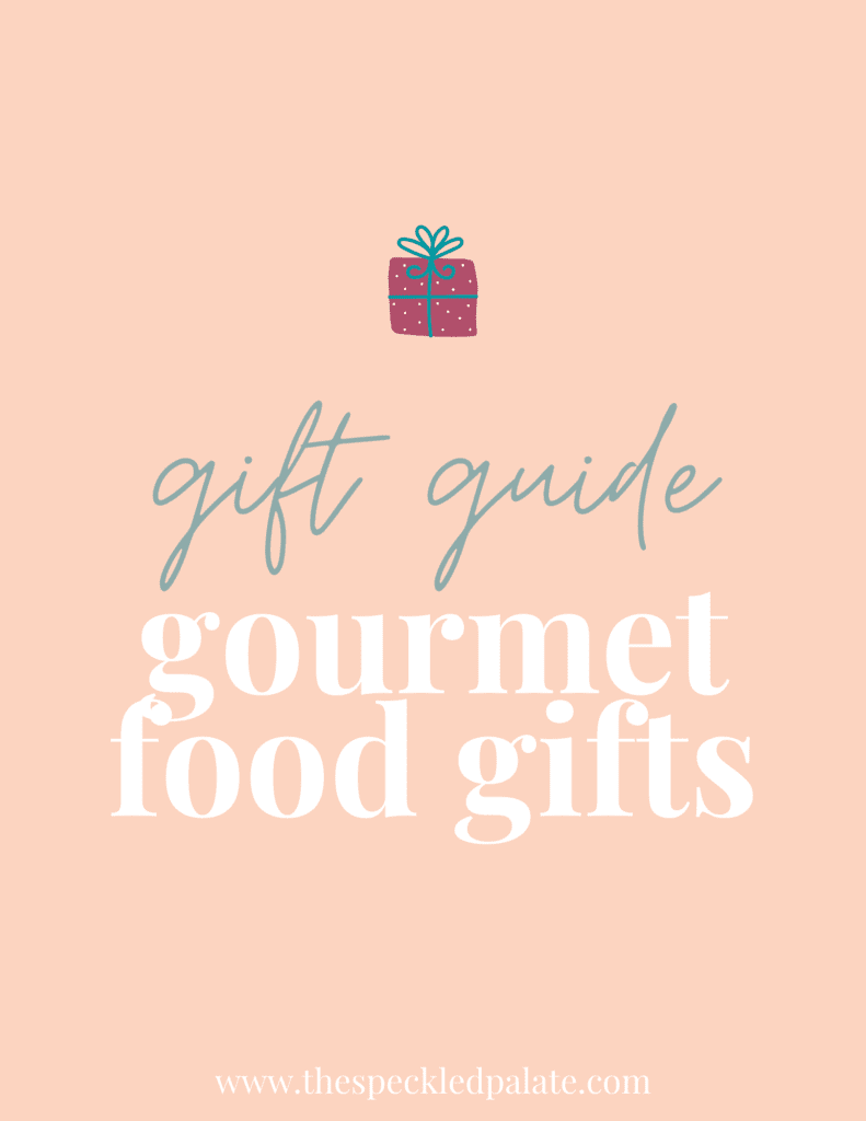 A graphic for Gourmet Food Gifts with text and a present on a peach background