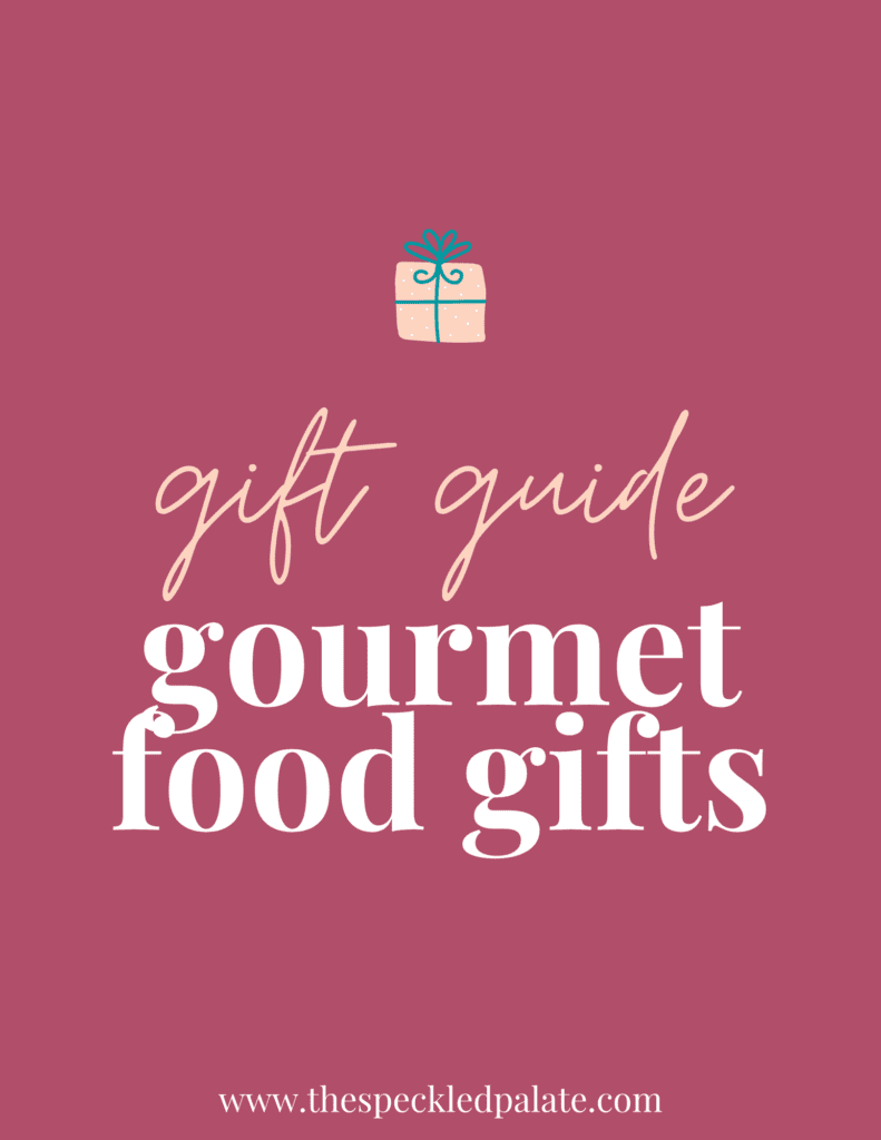 A graphic for Gourmet Food Gifts with text and a present on a dark pink background