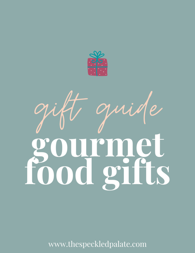 A graphic for Gourmet Food Gifts with text and a present on a teal background