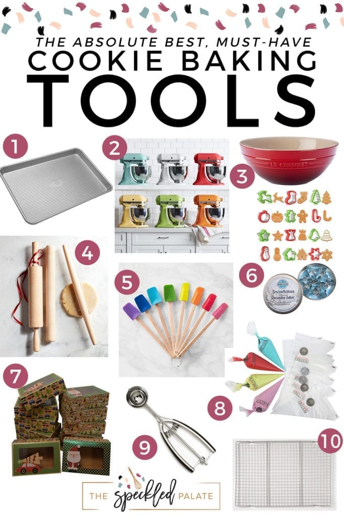 Vertical collage of products for cooking baking with the text 'the absolute best, must-have cookie baking tools'