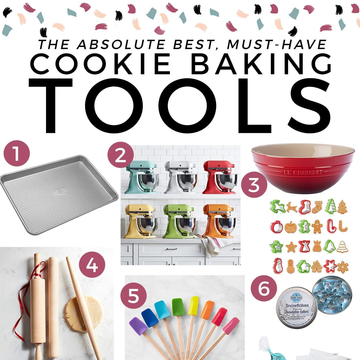 Square collage of products for cooking baking with the text 'the absolute best, must-have cookie baking tools'
