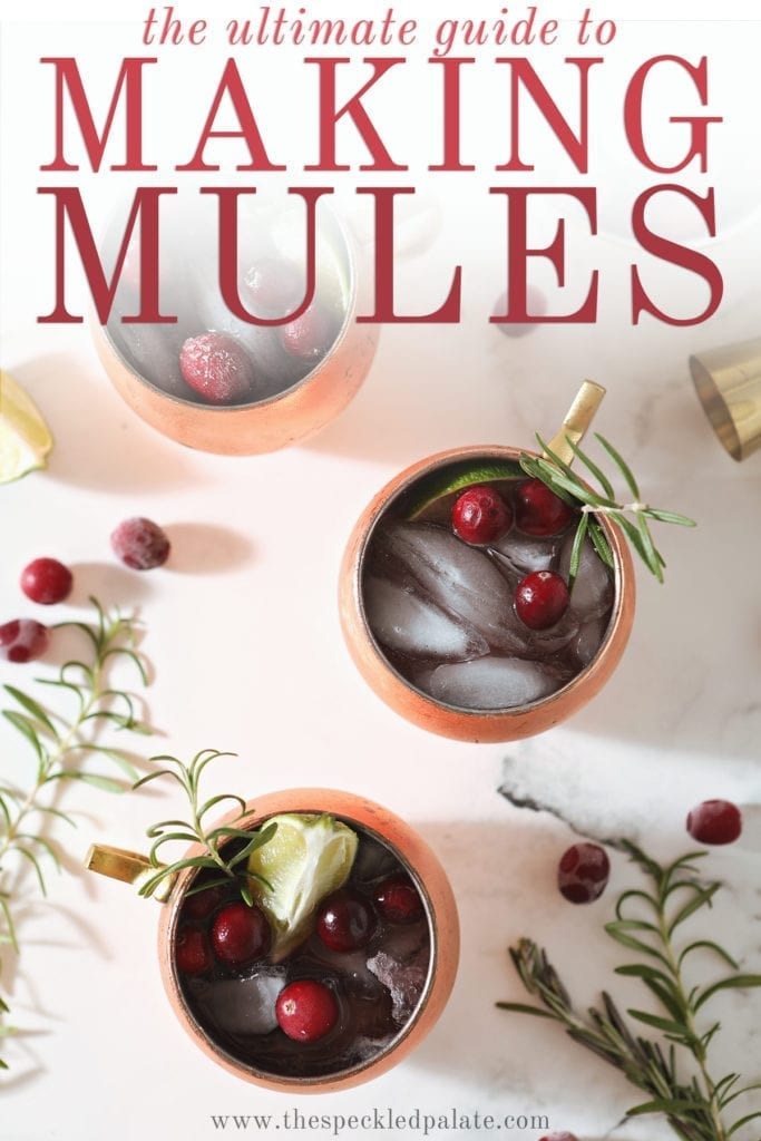 Three Cranberry Mules sit on a marble surface next to a bowl of cranberries, a gold jigger, rosemary sprigs and more cranberries with the text 'the ultimate guide to making mules'