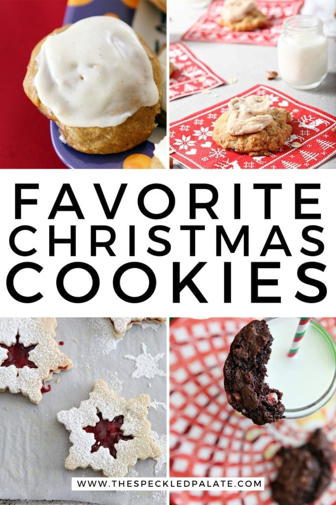 Collage of four cookie recipes with the text 'favorite christmas cookies'