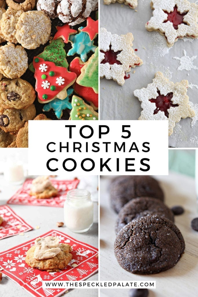 Collage of four cookie recipes with the text 'top 5 christmas cookies'