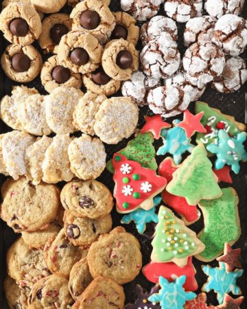 A close up of many different types of cookies