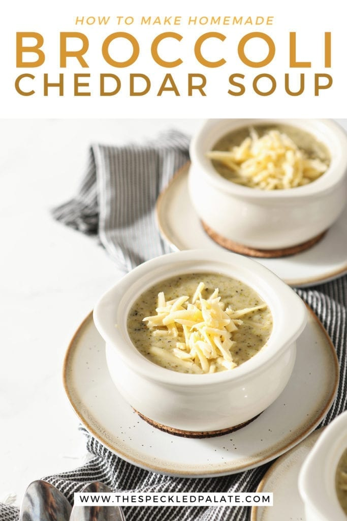 Three white ramekins on pottery plates hold servings of Easy Broccoli Cheddar Soup on top of a gray striped towel with the text 'how to make homemade broccoli cheddar soup'