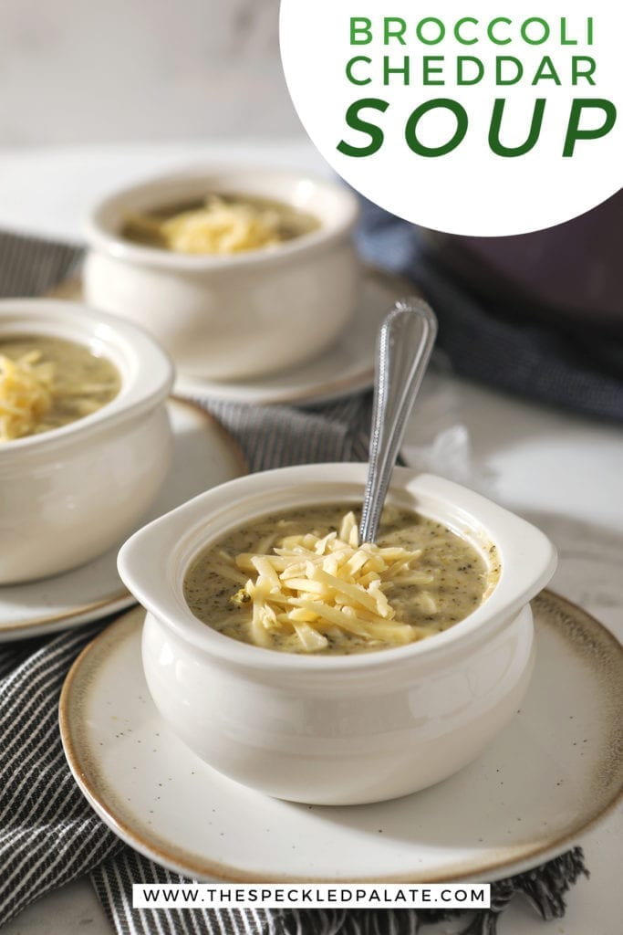 White bowls on pottery plates hold broccoli soup, garnished with extra cheese, on top of gray striped towels and next to a purple Dutch oven with the text 'broccoli cheddar soup'
