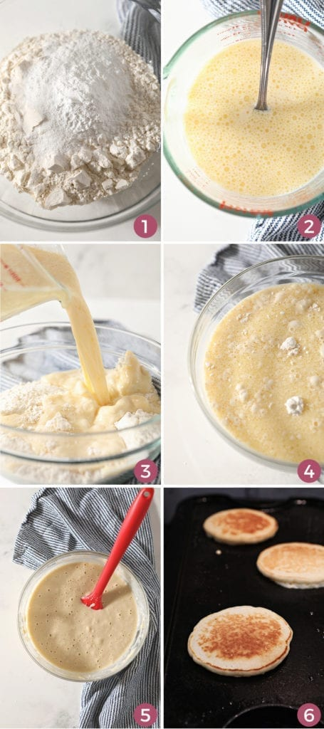 Collage of six images showing how to mix the homemade pancake batter, as well as the pancakes on a griddle