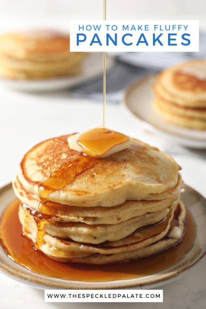 Syrup pours onto a stack of fluffy homemade pancakes with the text 'how to make fluffy pancakes'