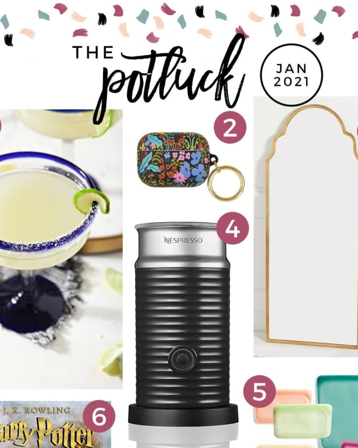 Square collage of eight items on this month's love list Continuing the monthly tradition, The Speckled Palate's The Potluck: January 2021 includes new kitchen items, a book, a recipe and more. #lovelist #speckledpalate