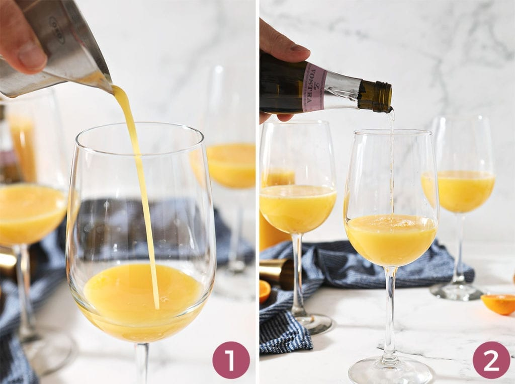 Collage of two images showing how to make a mimosa at home