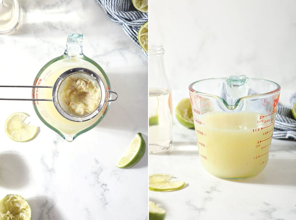 Collage of two images showing strained lime juice from above with a mesh strainer and the lime juice in a liquid measuring cup