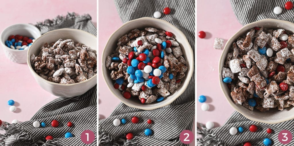 A collage of three images showing how to make Patriotic Puppy Chow