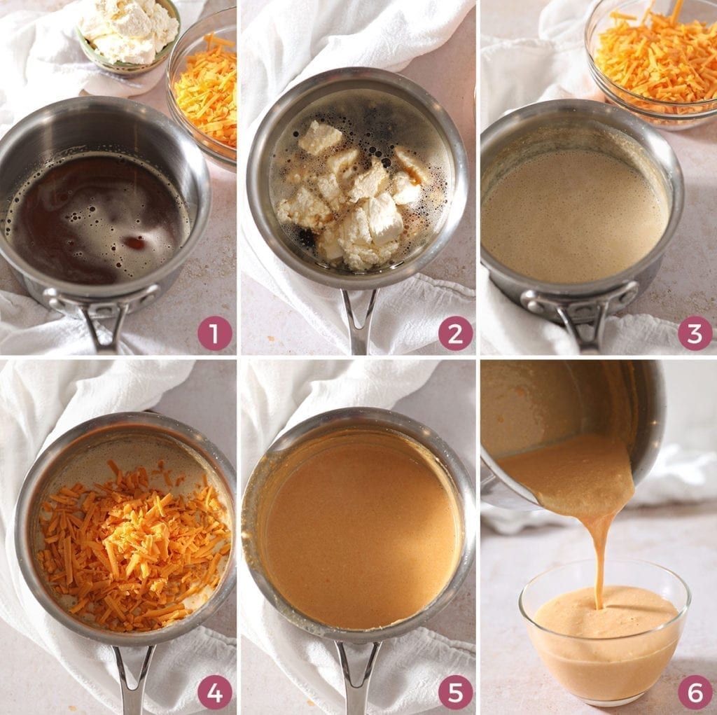 Collage of six images showing how to make Beer Cheese Dip