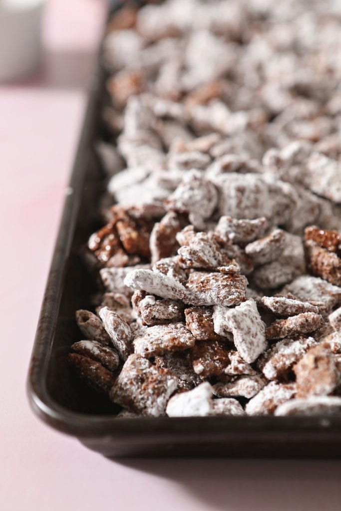 A sheet tray holds puppy chow