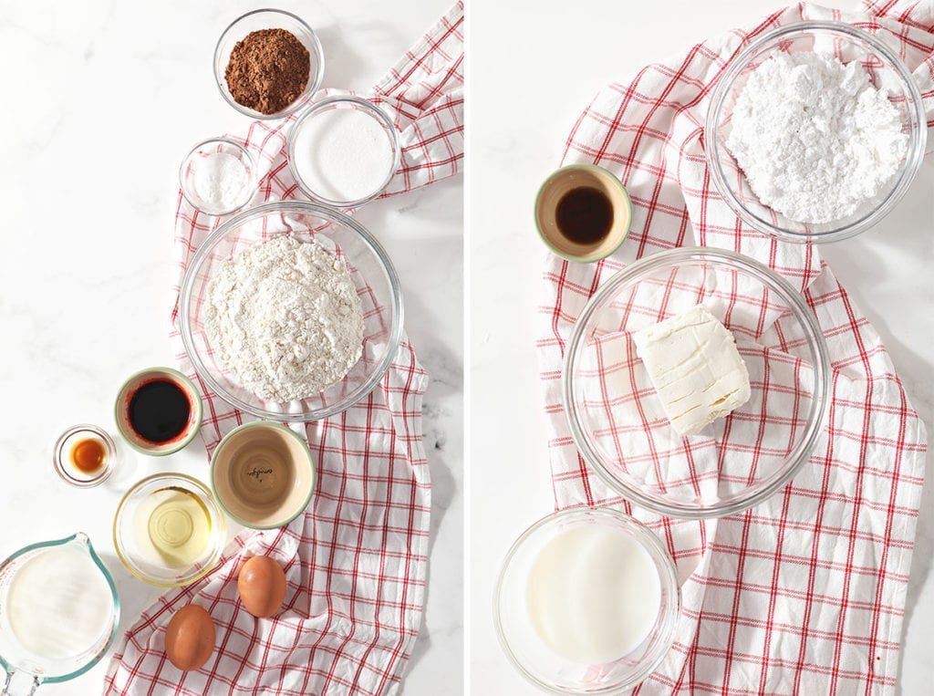 Collage of two images showing ingredients for red velvet pancakes and a homemade cream cheese glaze
