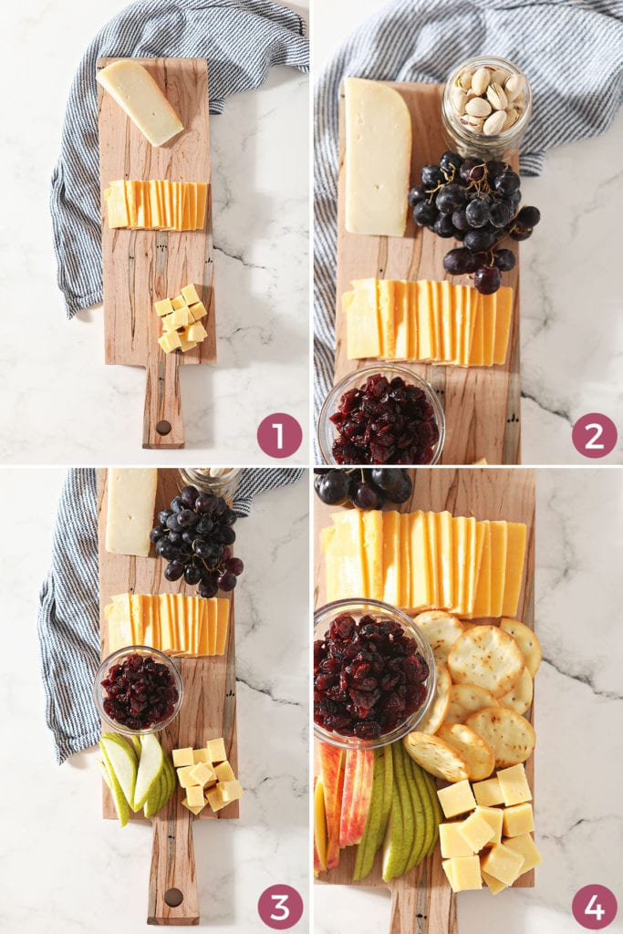 A collage of four images showing how to make and arrange a snack board