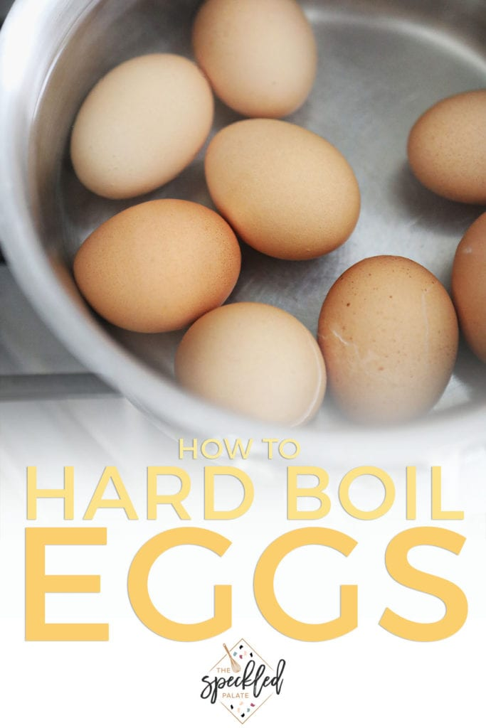 Eggs in a saucepan in water with the text 'how to hard boil eggs'
