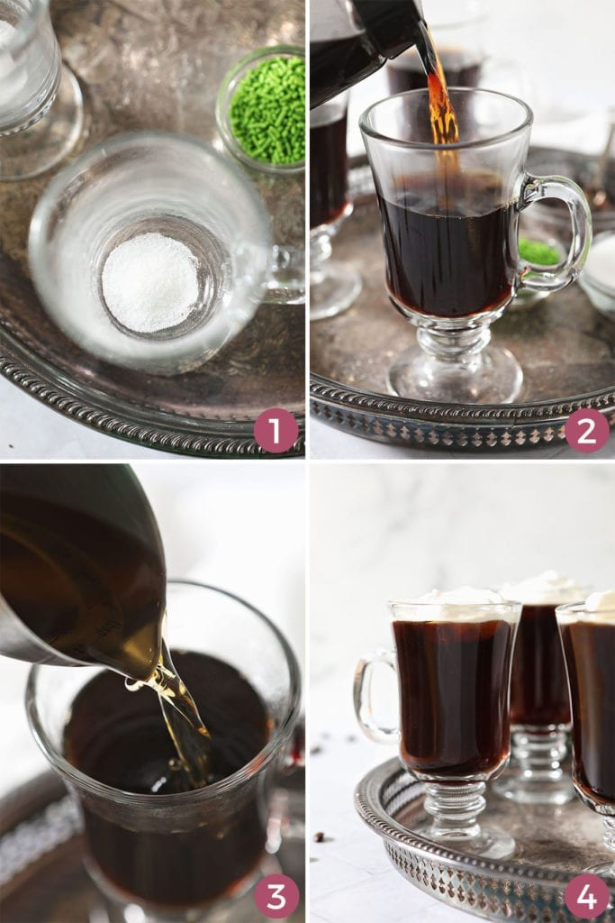 Collage of four images showing how to make an Irish Coffee