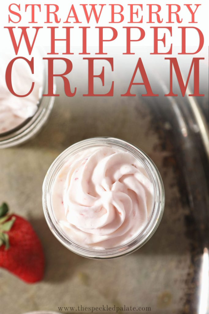 A serving of strawberry whipped cream in a glass with the text 'strawberry whipped cream'