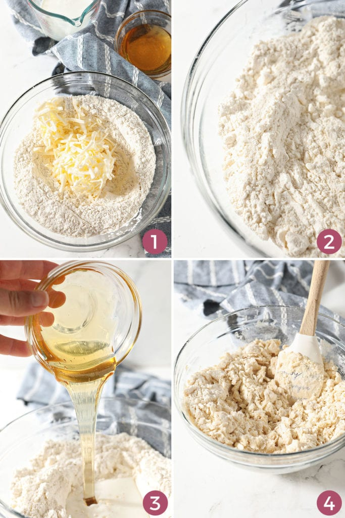 A collage showing how to make biscuit dough