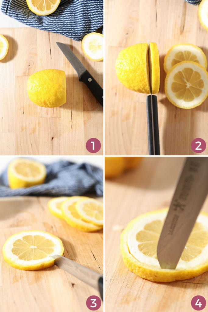 Collage of four images showing how to trim and cut a lemon peel from the lemon