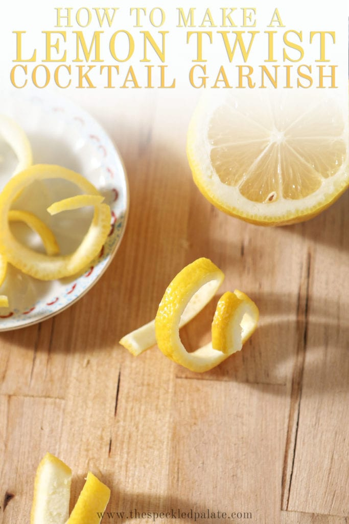Several twists on a wooden cutting board with the text 'how to make a lemon twist cocktail garnish'
