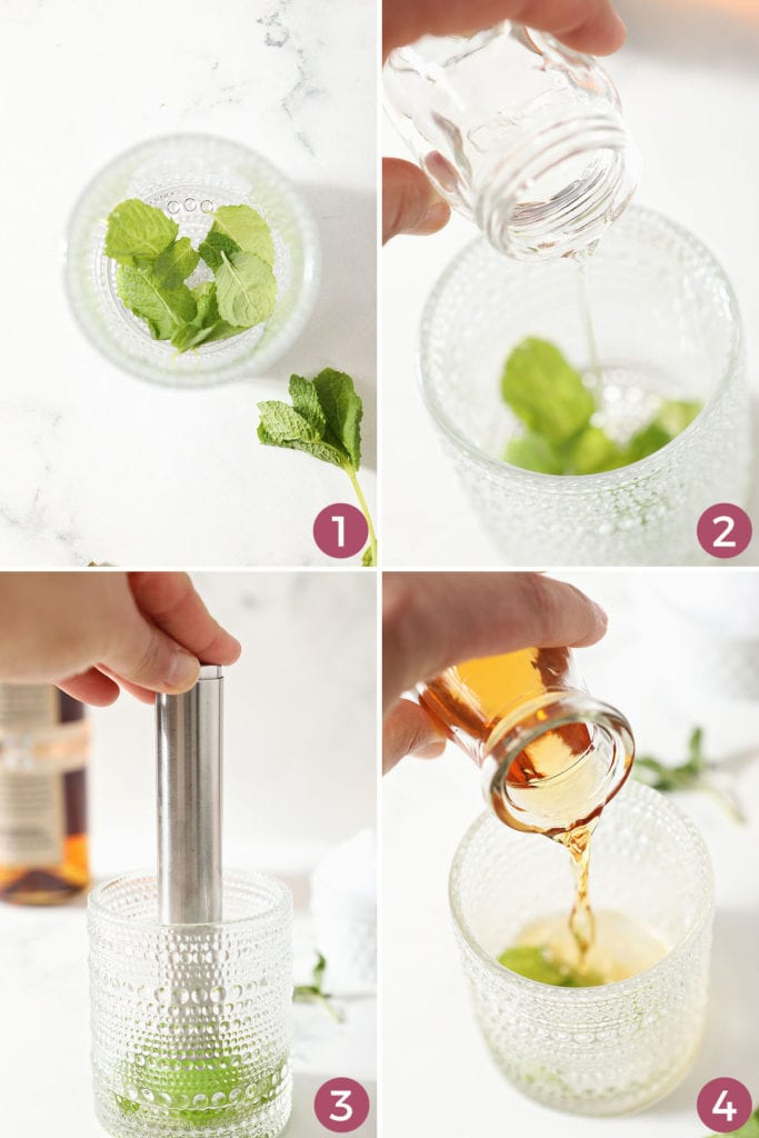 Collage showing how to make a mint julep