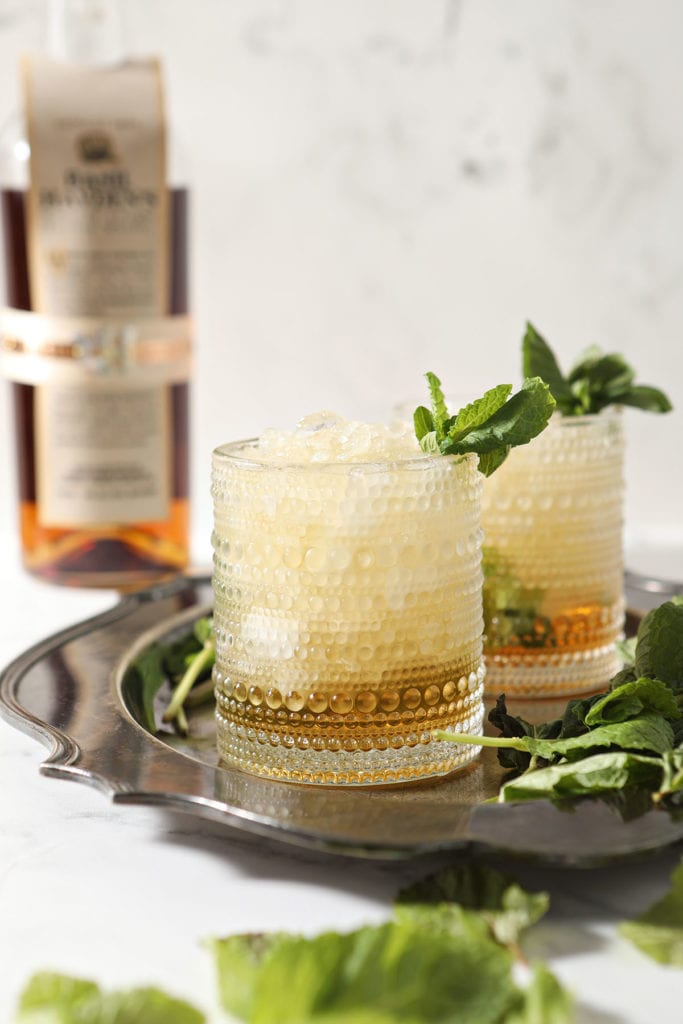 Two mint juleps on a silver tray