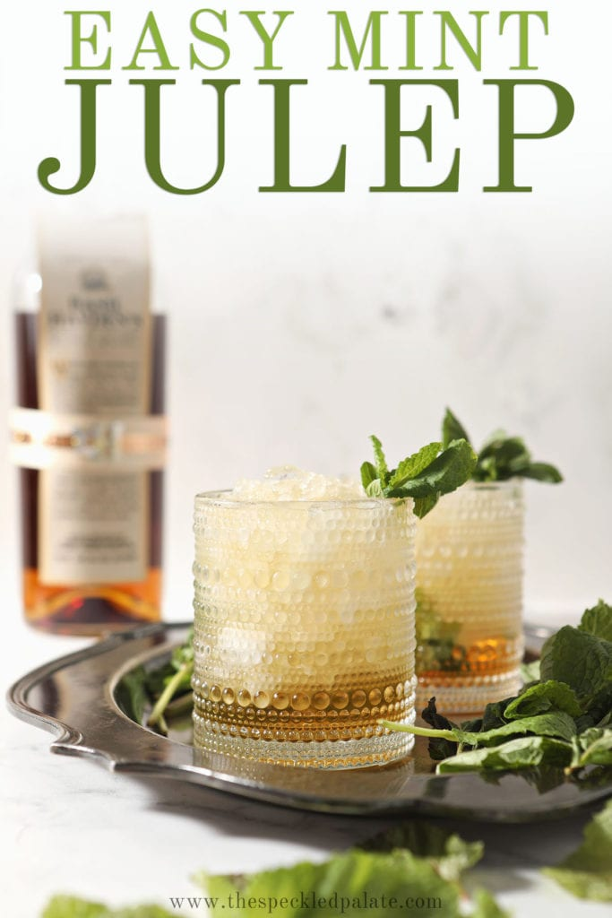 Two mint juleps on a silver tray with the text 'easy mint julep'