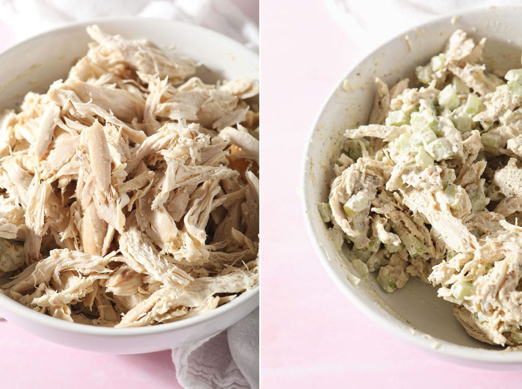 A collage of two images showing the chicken before and after mixed into the salad