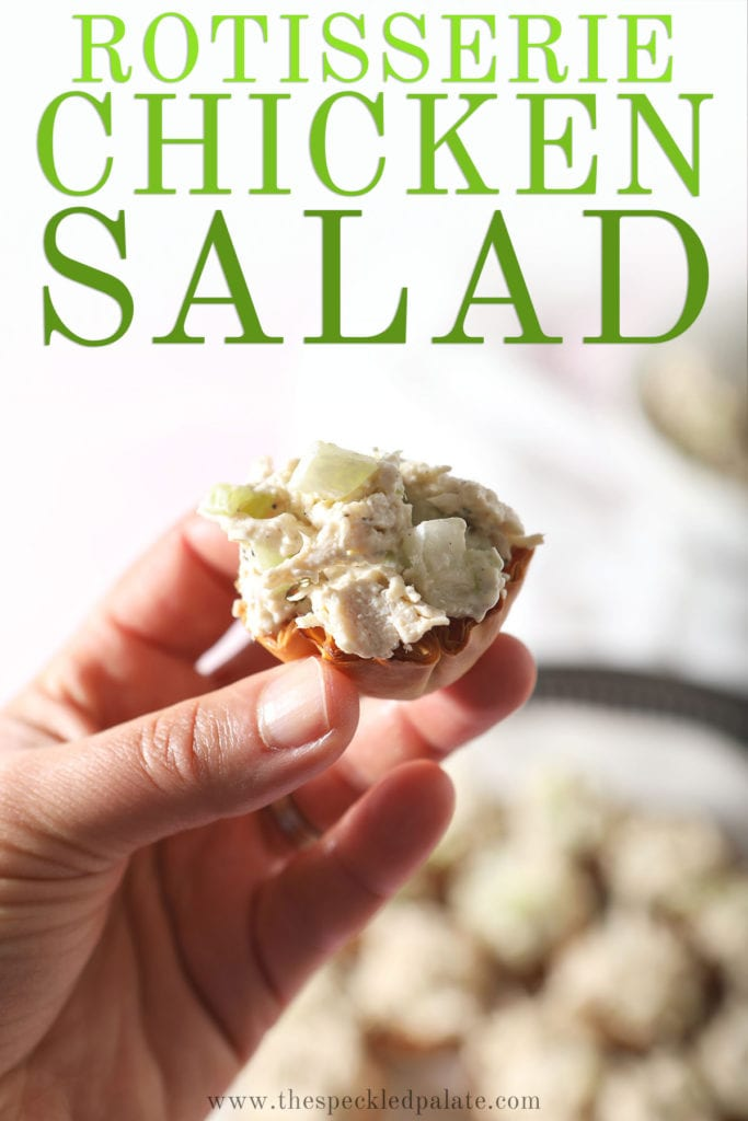 A person holds a chicken salad cup with the text 'rotisserie chicken salad'