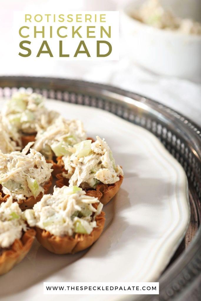 Chicken salad cups on a white plate with the text 'rotisserie chicken salad'