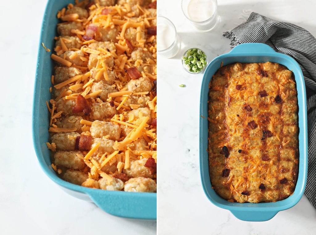 Collage showing before and after baking the tater tot egg casserole