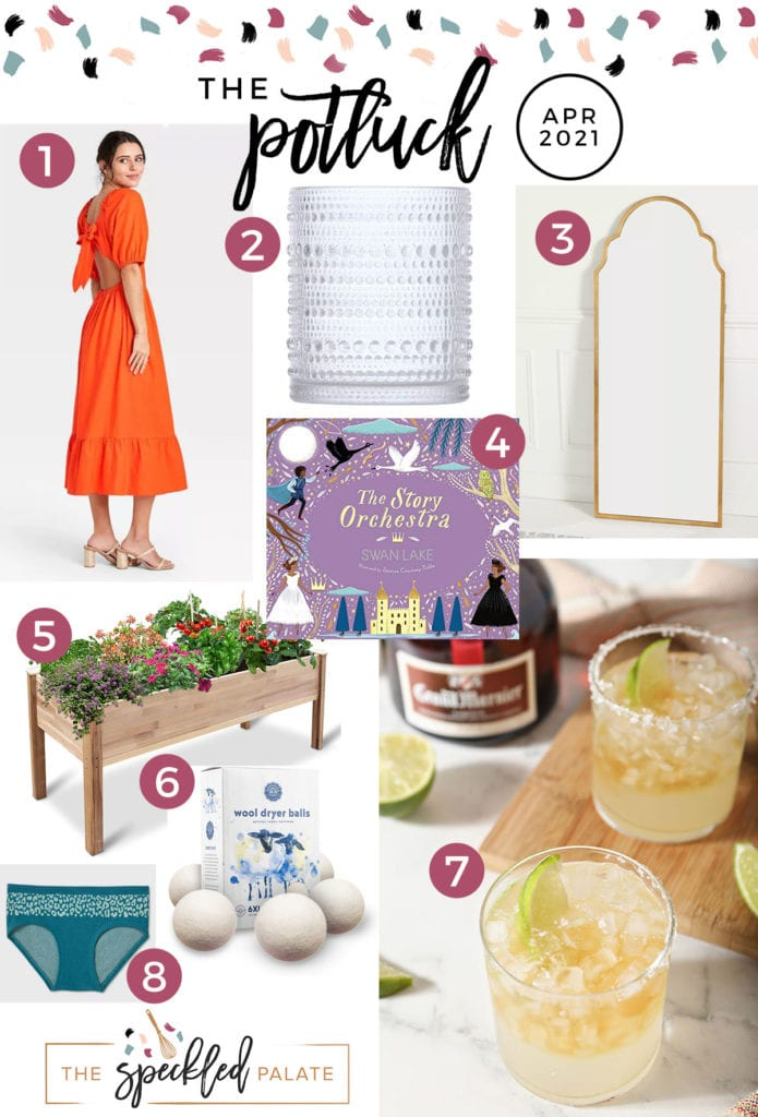 Square collage of eight items on this month's love list