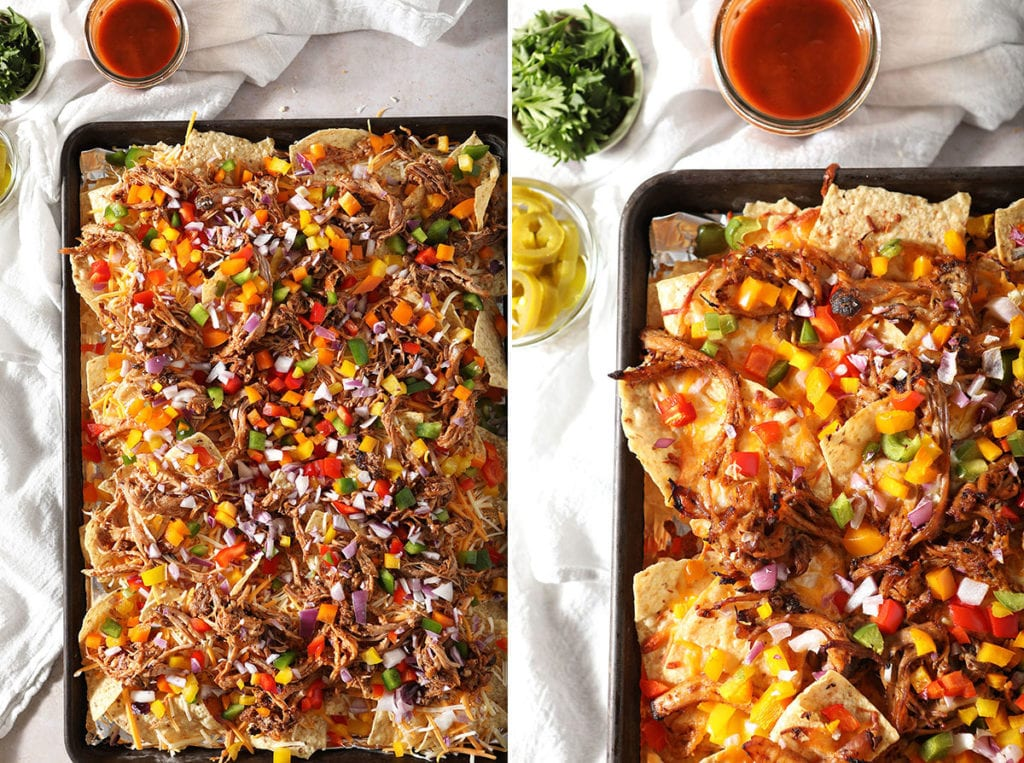 A collage showing homemade nachos before and after baking