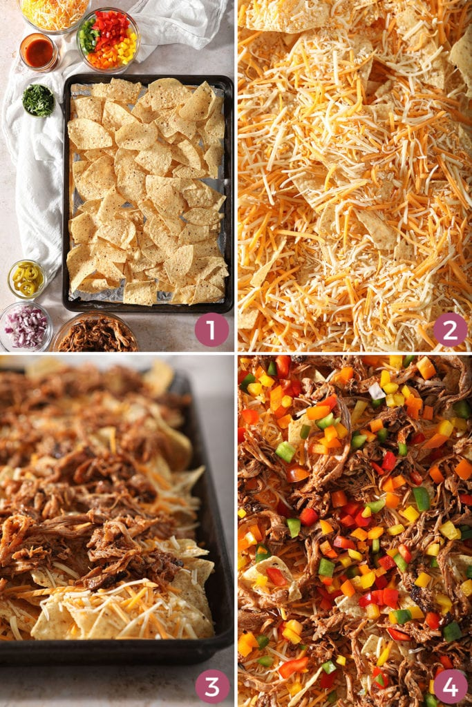 A collage showing how to layer barbecue nachos