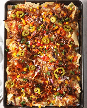 A tray of BBQ nachos straight out of the oven