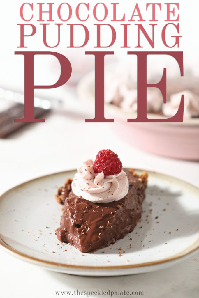 A slice of chocolate pudding pie with whipped cream and a raspberry on top with Pinterest text