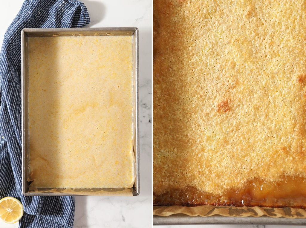 A collage of lemon bars before and after baking