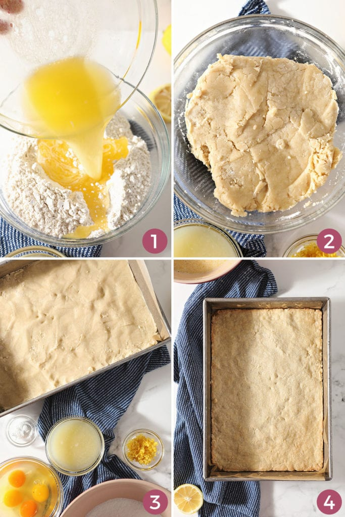 A collage of how to make shortbread crust for easy lemon bars