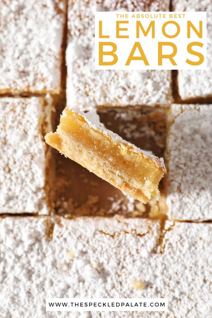 Sliced dessert bars with the text the absolute best lemon bars